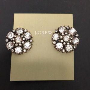 🎁J CREW CRYSTAL FLOWER ROUND EARRINGS 🎁